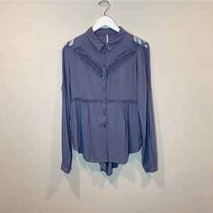 Free People Button Down Blouse Midnight Blue